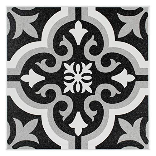SomerTile FTC8BRCL Bracara Ceramic Floor and Wall Tile, 7.75 x 7.75-Inches, Black/Grey/White, Pack of 25 ()