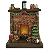 Comfy Hour 10'' Christmas Lit Fireplace Scene Tabletop Figurine with 3 AAA Batteries Controlled LED Light, Red and Green