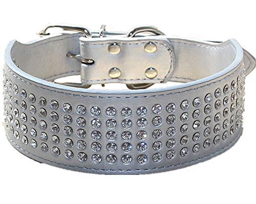 haoyueer Rhinestones Dog Collars 5 cm Width 5 Rows Full Sparkly Crystal Diamonds Dazzling Sparkling Elegant Fancy PU…
