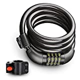 Bike Lock Cable, Resettable 4-Feet Security Cable Lock Combination Self Coiling Bicycle Lock Cable with Complimentary Mounting Bracket 4 Feet x 1/2 Inch By ROADWI