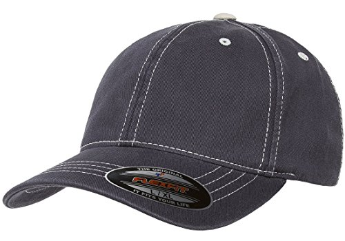 (Original Flexfit Contrasting Stitch Blank Hat Baseball Cap Fitted Flex Fit 6386 Large / Xlarge - Navy / Stone)