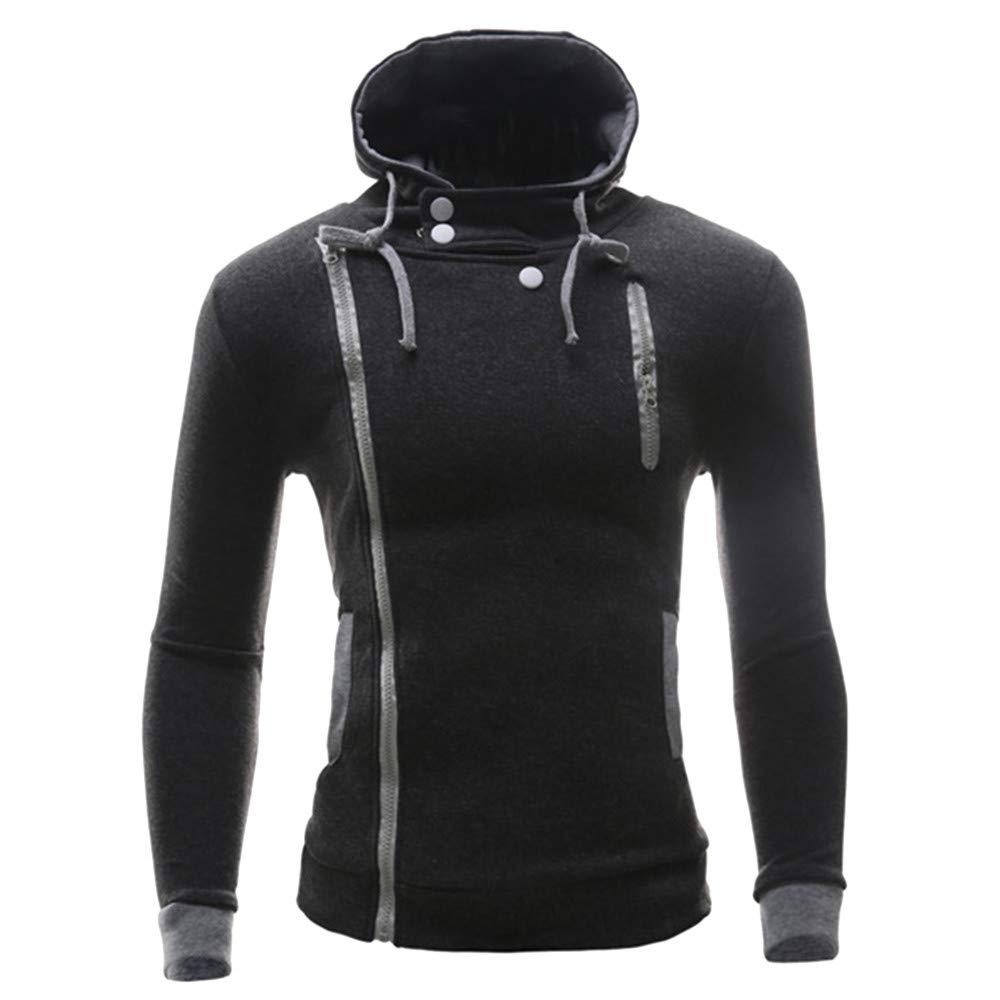GOVOW Zipper Hoodies for Men Autumn Winter Long Sleeve Button Slim Casual Tops Blouse Coat(XXXXL,Dark Gray)