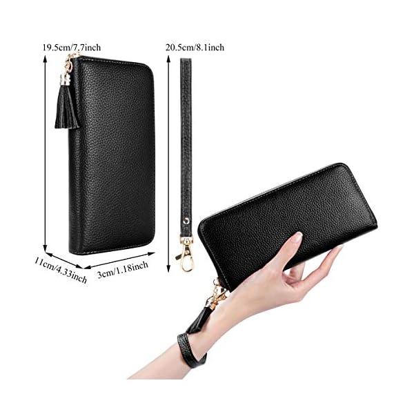 Portafoglio Donna Vera Pelle Grande Capacit? Portafogli Donna, Bloccaggio RFID Portafogli Donna con Porta Carte e Cerniera (Nero)
