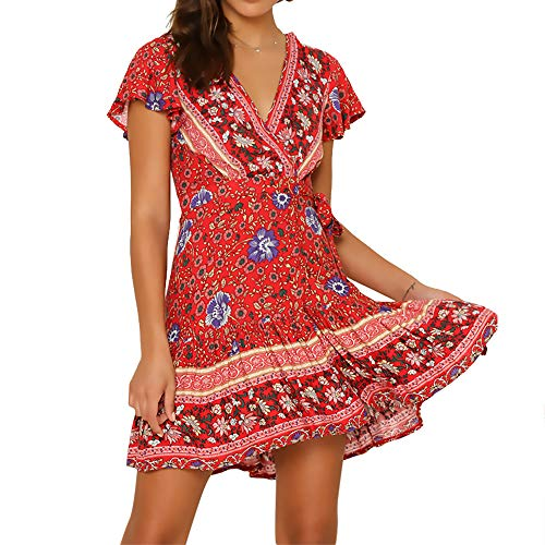 Byinns Women's Floral Mini Faux Wrap Dress Casual Summer Tea Beach Bohe Dresses Plus Size US2-20
