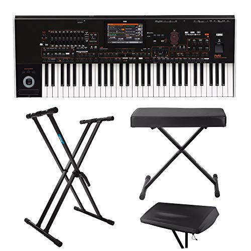 Korg PA4X 61-Key Professional Arranger Keyboard with Knox Bench, Stand and Dust Cover
