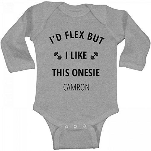 I'd Flex But I Like This Onesie Camron: Infant Long Sleeve Bodysuit