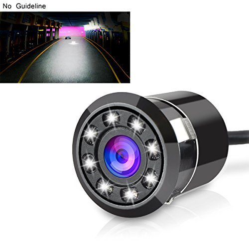 Backup Camera Tiker 8 Led Car Rear View, Wide View Angle Waterproof, Vehicle Parking and Reverse Assist No Guideline Metal Case
