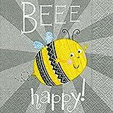 Servietten Tischdeko Geburtstag Be Happy Biene 20 Stück 3-lagig 33x33cm
