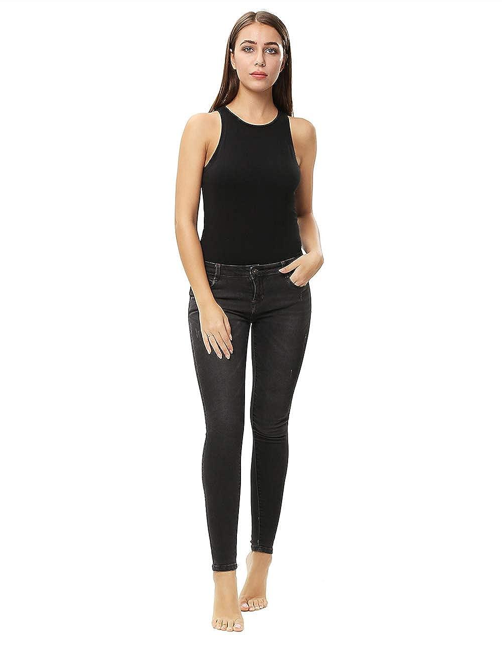 c3dc6bc74f68 Amazon.com: ENIDMIL Women's Tank Top High Neck Sleeveless Bodysuit Jumpsuits:  Clothing