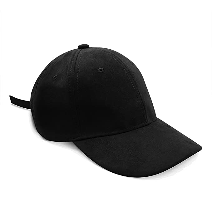 a89ede75 Opromo Classic 6 Panel Faux Leather Suede Baseball Cap Adjustable ...