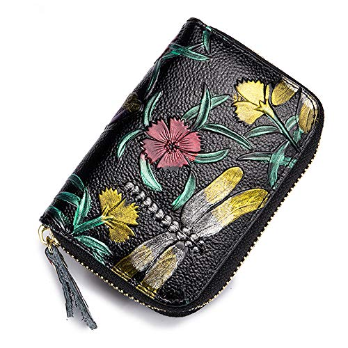 Fly Joys Women RFID Blocking Leather Rose Embossed Credit Card Holder - Minimalist Accordion Wallet Hand-painted color (Visa Debit Gift Card Balance Phone Number)