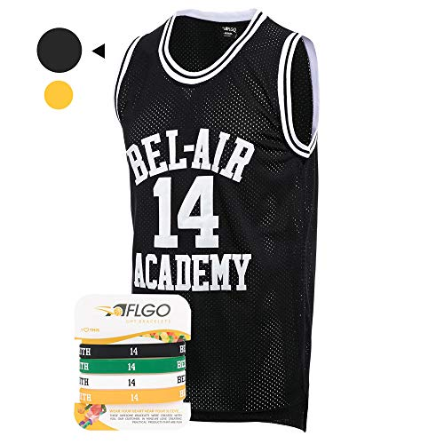 AFLGO Fresh Prince of Bel Air #14 Basketball Jersey S-XXXL – 90's Clothing Throwback Will Smith Costume Athletic Apparel Clothing Top Bonus Combo Set with Wristbands (Black, XL) ()