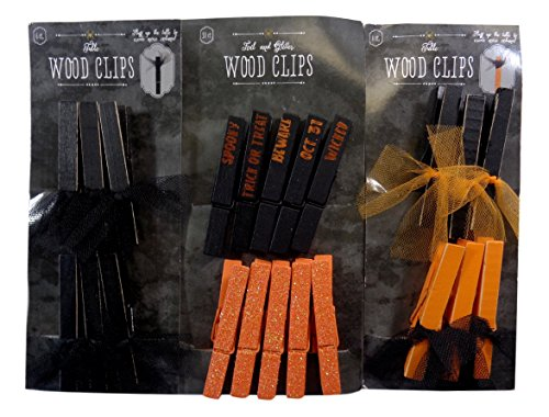 Bulk Buy: Halloween Decorated Wood Clips, Pack of (6), (Assorted)