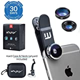 Whyzyv - Best Phone Camera Lens Kit 3 in 1 Clip-on for iPhone 5 6 7 Plus, Samsung S6 S7 S8, LG, Huawei, Nexus, MacBook and Smartphone. Fisheye, wide angle, macro lens, travel bag, neck lanyard-carry
