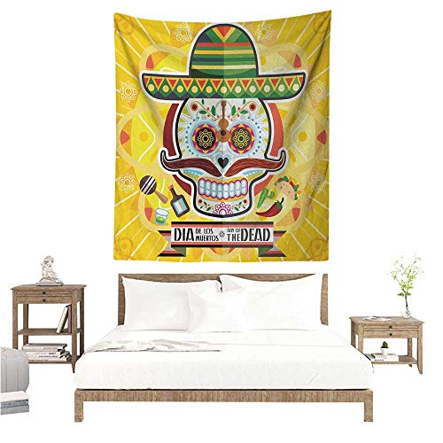 WilliamsDecor Polyester Tapestry Day of The Dead Mexican Sugar Skull with Tacos and Chili Pepper November 2nd Colorful Art Print 70W x 93L INCH Suitable for Bedroom Living Room Dormitory