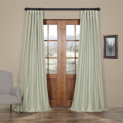 Half Price Drapes PDCH-KBS22-96 Vintage Textured Faux Dupioni Silk Curtain, 50 x 96, Water Fall