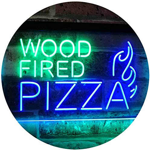 AdvpPro 2C Wood Fired Pizza Dual Color LED Neon Sign Green & Blue 16