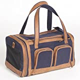 Pet Deluxe Travel Carrier – Tough Navy Canvas with Genuine Leather Accents