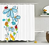 Ladybugs Decorations Shower Curtain Set by Ambesonne, Flowers and Oval Dome-Shaped Ladybugs Illustration Never Ending Love Story Luck Symbol, Bathroom Accessories, 84 Inches Extralong, Multi