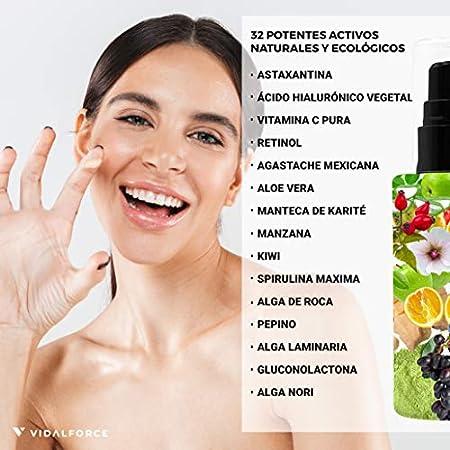 GLOW ON. Crema Hidratante Facial Mujer - Explosión Antioxidante en el rostro con sus 32 Activos Naturales como Astaxantina, Vitamina C Pura, Retinol o Ácido Hialurónico Vegetal - Crema Regeneradora