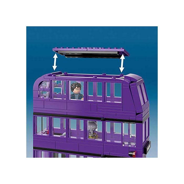 51kI2RHs62L Incluye 3 minifiguras LEGO Harry Potter (novedad en junio de 2019): Harry Potter, Stan Shunpike y Ernie Prang. Este autobús LEGO de 3 pisos cuenta con un panel lateral abisagrado abatible y un techo desmontable para abrir al máximo las posibilidades de juego. Incluye también una cama que se desliza y una lámpara colgante que se mueve cuando el autobús gira y da un viraje brusco.