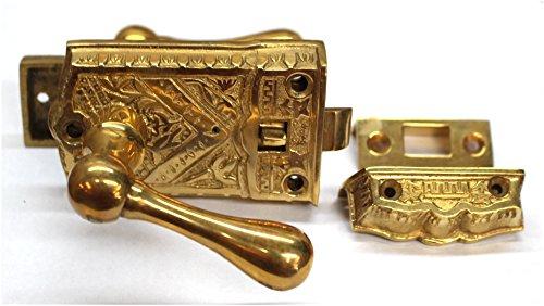Door Victorian Screen (Vintage Brass Eastlake Victorian SCREEN DOOR Latch Lock hardware restoration)