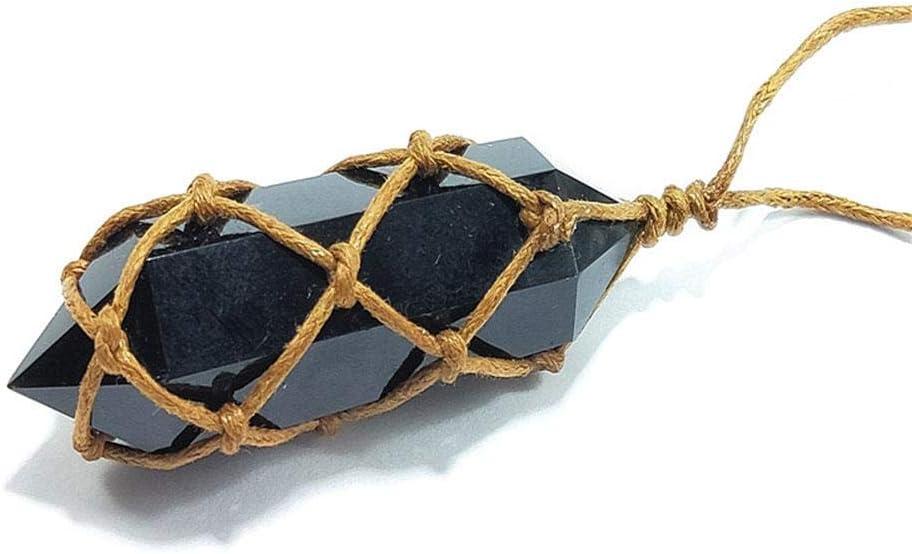 Yunhigh Natural Obsidiana Amatista Cuarzo Piedra de Cristal Colgante Hecho a Mano Piedra Preciosa Curación Varita Reiki Colgantes