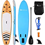 Goplus Inflatable Stand Up Paddle Board iSUP Cruiser 6' Thickness Anti-Slip Deck iSUP Package with 3 Fins Thuster, Adjustable Paddle, Hand Pump and Carry Backpack (11FT)