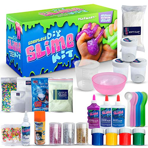 ULTIMATE DIY SLIME KIT for Girls & Boys | ALL YOU NEED TO MAKE SLIMES IN ONE BOX |Ingredients, Tools, Containers, Guide, e-book & Slime Supplies| Cloud, Fluffy, Unicorn, Glow, Glitter, Butter, & More)