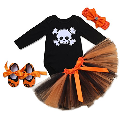 Top 10 Baby Girl Halloween Costumes (Newborn Baby Girls' Party Tutu Dress 4 Pieces Outfits Christmas Picture Skirt Bodysuit Headband Shoes Bow tie Set Long Sleeve Black 6-12 Months)