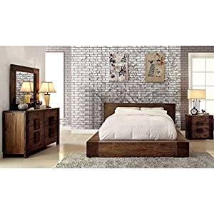 Furniture of America Shaylen I Rustic 4-Piece Natural Tone Low Profile Bedroom Set California King