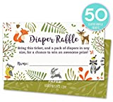 Baby : Woodland Diaper Raffle Tickets with Owl and Forest Animals. Pack of 50 Fill In The Blank Unisex Design Suitable for Boy or Girl.
