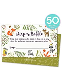 Woodland Diaper Raffle Tickets with Owl and Forest Animals. Pack of 50 Fill In The Blank Unisex Design Suitable for Boy or Girl. BOBEBE Online Baby Store From New York to Miami and Los Angeles