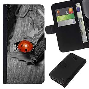 All Phone Most Case / Oferta Especial Cáscara Funda de cuero Monedero Cubierta de proteccion Caso / Wallet Case for LG OPTIMUS L90 // Ladybug Gray Red Cute Bug Macro Close-Up
