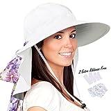 Womens Sun Hats Neck Flap Large Brim UV Protection Foldable Fishing Hiking Cap
