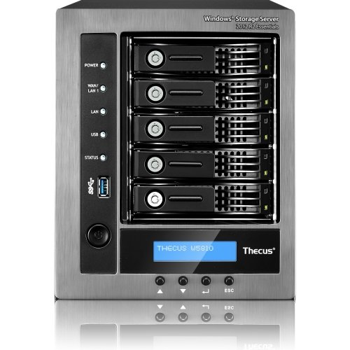 Thecus W5810 5-Bay WSS NAS with Intel Celeron J1900 Quad Core, 4GB RAM, Windows License Included - Metallic/Black by Thecus