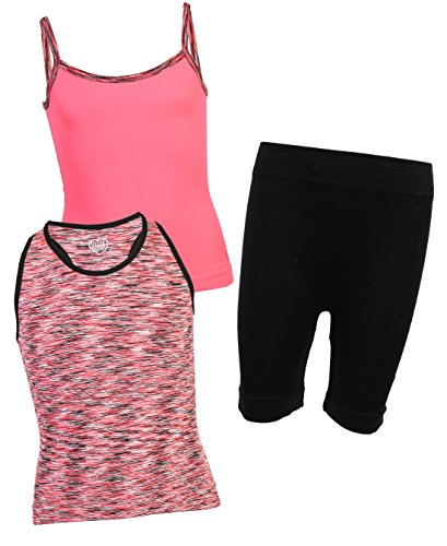 Body Glove Girl's 3-Piece Athletic Tank Tops and Shorts Sets, Coral, 10/12' by Body Glove