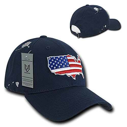 Profile 6 Panel American Flag Map Embroidered Baseball Cap - Navy ()