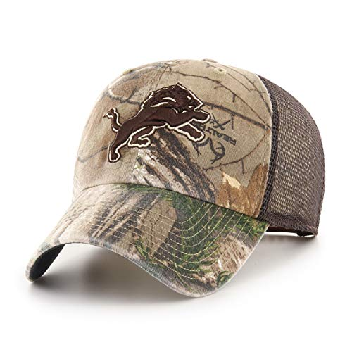 OTS NFL Detroit Lions Male Ledgewood Challenger Adjustable Hat, Realtree, One Size