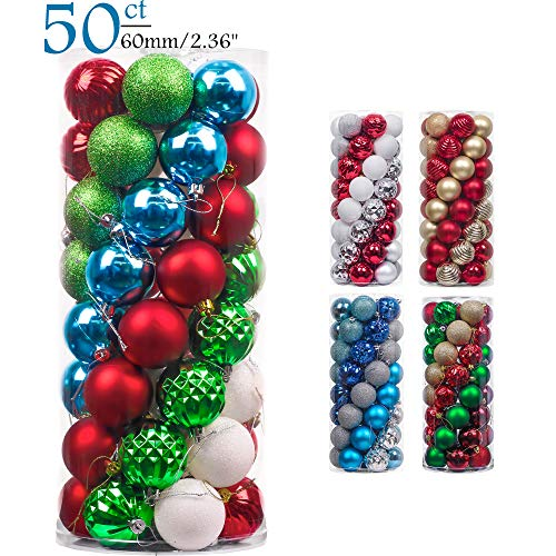 Teresas Collections 50ct 60mm Joyful Elf Shatterproof Christmas Ball Ornaments Decoration,Themed with Tree Skirt(Not Included)
