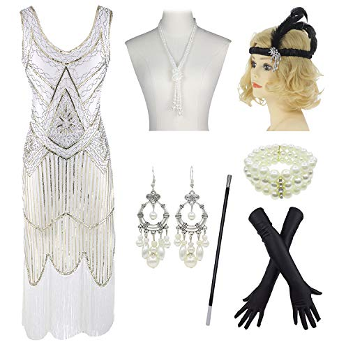 1920s Gatsby Sequin Fringed Paisley Flapper Dress with 20s Accessories Set (2XL, White) ()