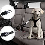 Dog Seat Belt Harness With Two Pet Cat Car Safety Leads Heavy Duty Leash Extensions, Dual Adjustable Vehicle Tether Tangle-Free Swivel Latch Bar Attachment Seatbelt Carabiner Clip by Barktus