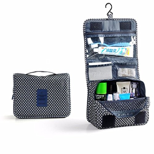 Clear Travel Bag, Oksale® Pocket Trip Cosmetic Organizer Storage Wash Toiletry Kit with Metal Hook, Waterproof Nylon Fabric Collection Carry Case (Deep Blue) - Hanging Basket Collection