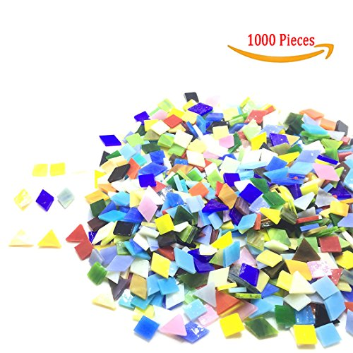 1000 Pieces Mixed Color Mosaic Tiles Mosaic Glass Pieces with Organizing Container for Home Decoration or DIY Crafts, Square (Mixed Shape)