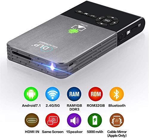 HAWK LI Android 7.1 Wireless Projector, 50ANSI DLP Portable Video-Projektor, mit 2.5G 5G Dual-WiFi, 1 GB RAM, 32 GB ROM…