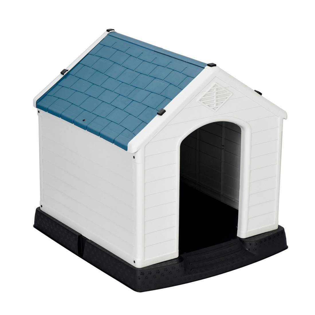 Good Life Outdoor Indoor Waterproof Plastic Dog House for Medium to Large Dogs Outdoor Winter Pet Dog House Kennel Ventilate Blue & White Color