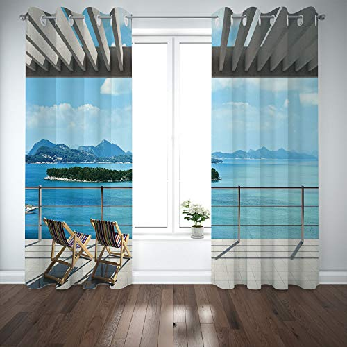 SCOCICI Grommet Blackout Window Curtains Drapes [ Beach Theme Decor,Modern Tile Roof Top House Garden Sea View Image,Brown White Green Blue] Living Room Bedroom Kitchen Cafe ()