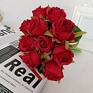 LBZE Artificial Fake Flowers,Real Touch Flowers Silk Fake Rose Flowers Home Decorations for Home Kitchen Wreath Wedding Centerpiece Decor 12Pcs 23