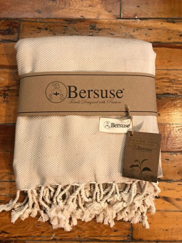 (Bersuse 100% Cotton - Milas Extra Large (XL) Throw Blanket Turkish Towel - Bath Beach Fouta Peshtemal - Bed, Couch Throw, Table Cover, Picnic Mat - Handloom Diamond - 60X90 Inches, Beige)