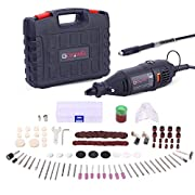 #LightningDeal GOXAWEE Rotary Tool Kit with MultiPro Keyless Chuck and Flex Shaft - 140pcs Accessories Variable Speed Electric Drill Set for Crafting Projects and DIY Creations